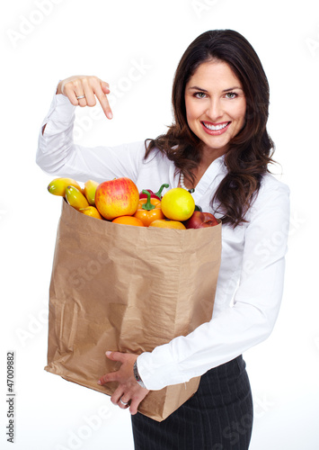 Young beautiful woman with a grocery bag.