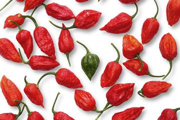 Green Buht Jolokia pepper between Red ones