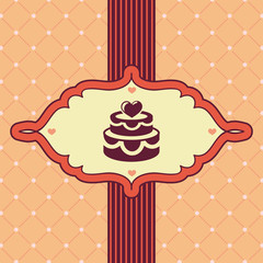 Vector vintage greeting card with wedding cake