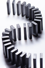 Black dominoes in a row