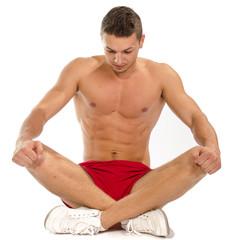 Muscular man  exercisesing