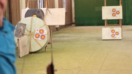 archer practicing indoor