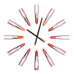 Various color lipstick and make-up brushes looks like watches