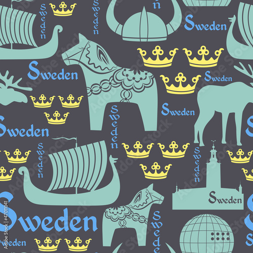 Dark seamless pattern with symbols of Sweden