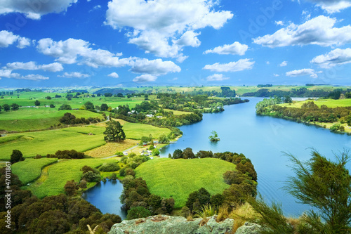Picturesque landscape with river