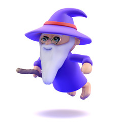 Wizard flies low to the ground