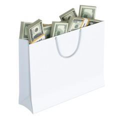 White paper bag full of money (isolated on white background v.2)