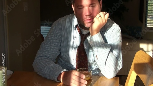 Businessman Drinking Alcohol & Smoking