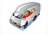 Fototapety express delivery service van with waving driver