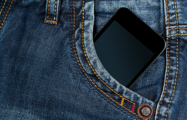graded-screen smartphone in your pocket blue jeans