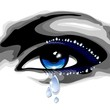 Blue Eye with Tears-Occhio Blu con Lacrime-Vector