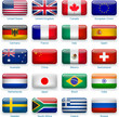 Button flags: most popular countries