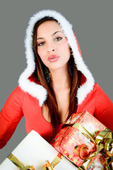 young girl dressed santa claus