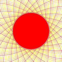 Red sun with swirl rays vector background