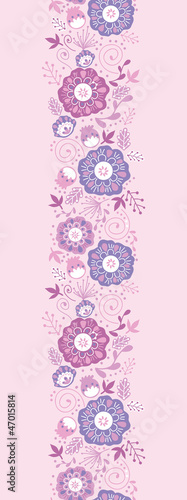 Vector Purple Blossom Vertical Seamless Pattern Background