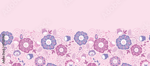 Vector Purple Blossom Horizontal Seamless Pattern Background