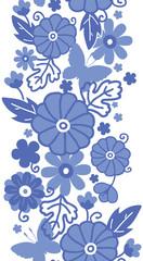Vector Delft blue Dutch flowers elegant vertical seamless