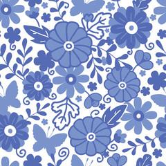 Vector Delft blue Dutch flowers elegant seamless pattern