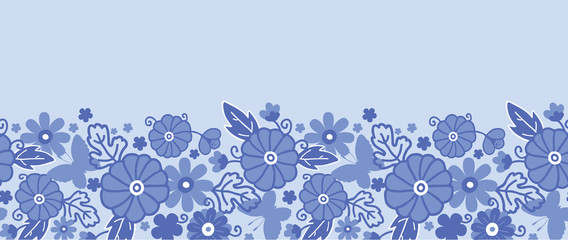 Vector Delft blue Dutch flowers elegant horizontal seamless