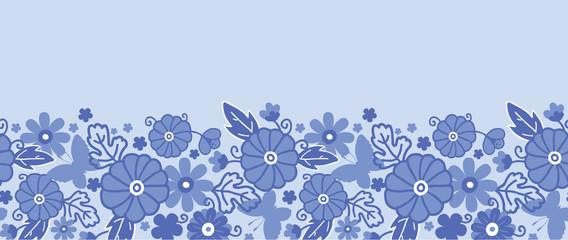 Vector Delft blue Dutch flowers elegant horizontal seamless