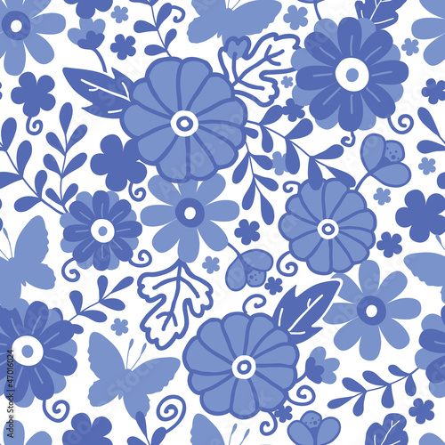 Vector Delft blue Dutch flowers elegant seamless pattern