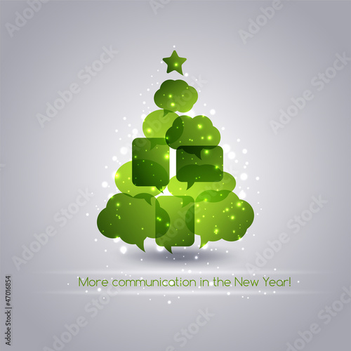 Speech bubbles Christmas tree background