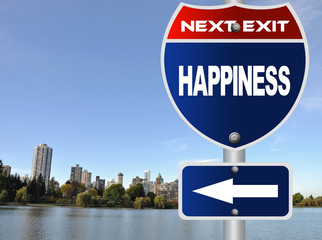 Happiness road sign