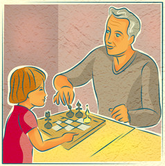 Elderly man playing chess with a young child