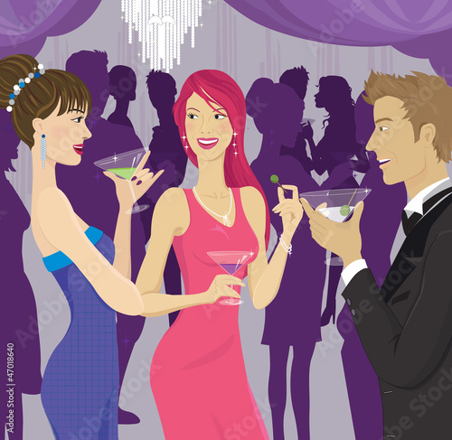 People socializing at a cocktail party