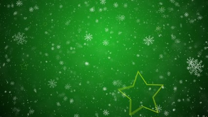 Falling snowflakes and stars on a green background