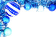 Blue Christmas border of baubles and shiny garland