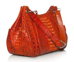 Handbag in crocodile leather