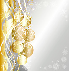 Christmas silver background with golden evening balls