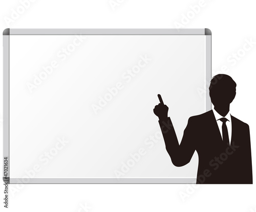 white board & businessman vector