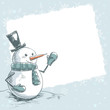 Hand drawn vintage christmas card with smiling snowman