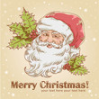 Christmas retro postcard with cute smiling Santa Claus