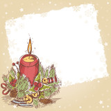 Christmas hand drawn retro postcard with cute burning candle