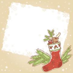 Christmas hand drawn retro postcard with xmas stocking