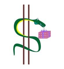 змея с подарком.