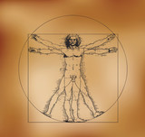 Vitruvian man with crosshatching and sepia tones
