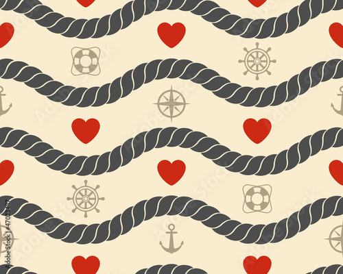 Marine seamless pattern. Vector illustration.