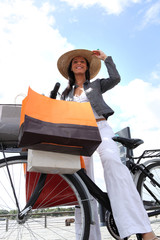 Woman on bike g bags