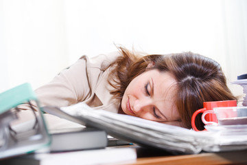 Businesswoman sleeping