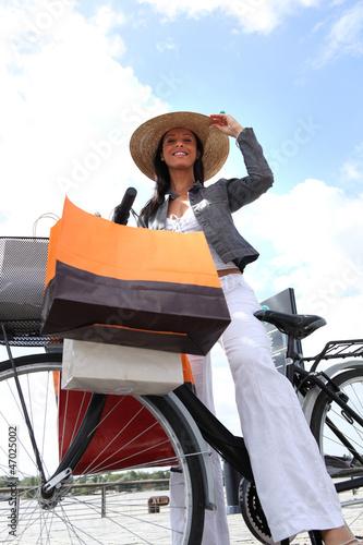 Woman on bike g bags