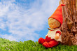 seated doll dressed elf sitting on green grass