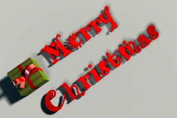 Merry Christmas letters with a present