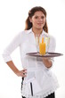 Waitress with a drinks tray