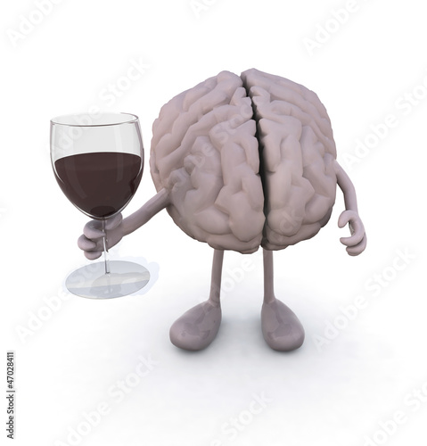 brain with arms and legs and glass of red wine