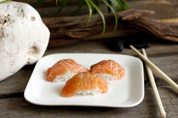 Sushi nigiri salmon closeup