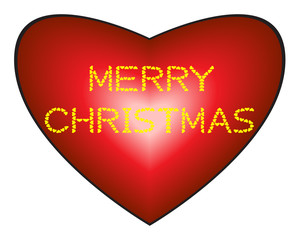 Merry Christmas on heart background